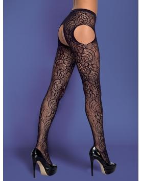 Garter stockings S208 black Black